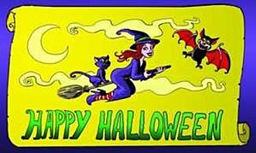 Halloween: Hexe auf Besen FB