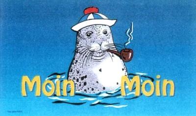 """Seehund 2 mit Mütze und Pfeife """"Moin Moin"""""""