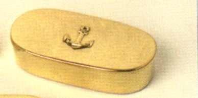 Priemdose oval mit Anker, l = ca. 9 cm