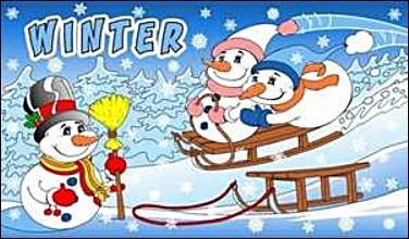 Winter (mit Schneemännern und Schlitten) FB