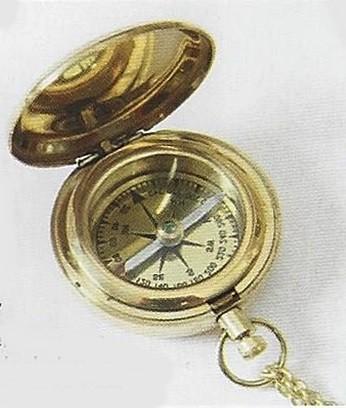 Taschenkompass mit Springdeckel und Kette Messing 18187