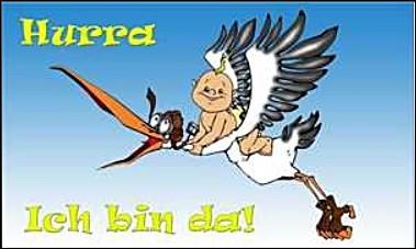 Storch mit Baby (Hurra, ich bin da) FB