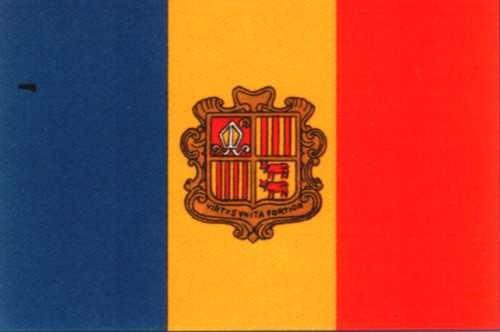 Andorra mit Wappen Gastlandflagge
