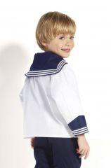 Matrosenhemd weiß mit blauem Kragen für Kinder