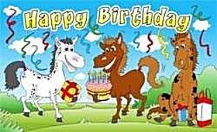 Geburtstagsflagge mit Pferden FB