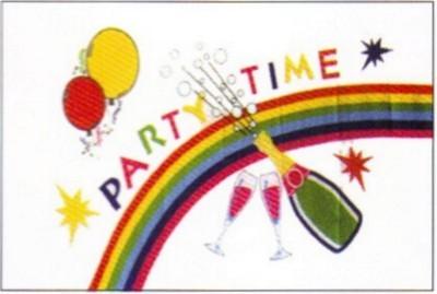 Party Time (mit Sektflasche und Luftballons)