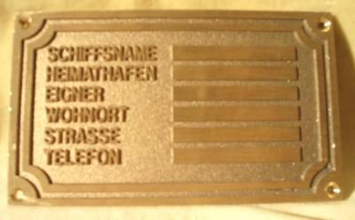 Eignerschild, ca. 10 cm x 6 cm