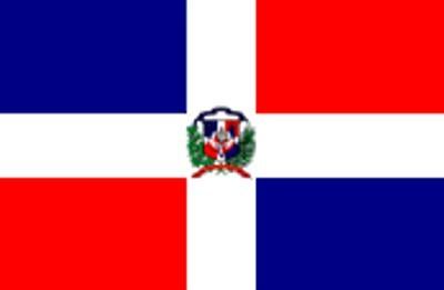 Dominikanische Republik mit Wappen Gastlandflagge